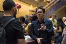 Dr. Hartley Lachter meeting with students at 2014 Graduate Meet and Greet